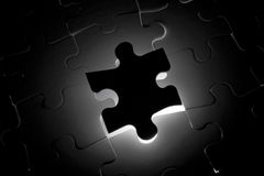 Black Puzzle one piece missing Royalty Free Stock Images