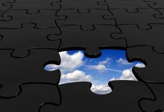 Black puzzle with a piece missing Royalty Free Stock Photo