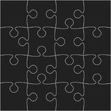 16 Black Puzzle Pieces - JigSaw - Vector. 16 Black Puzzle Pieces Arranged in a Square - JigSaw - Vector Illustration vector illustration