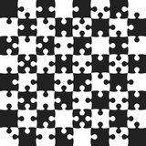 Black Puzzle Pieces - JigSaw Vector - Field Chess. Black Puzzle Pieces in a White Square - JigSaw - Vector Illustration. Vector Background. Field for Chess Royalty Free Stock Image