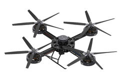 Black quadcopter drone with camera Stock Photo
