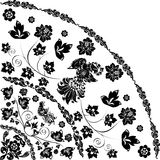 Black quadrant with bird and flowers. Ornamental quadrant with bird and flowers Royalty Free Stock Image