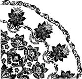 Black quadrant with curls and flowers Royalty Free Stock Images