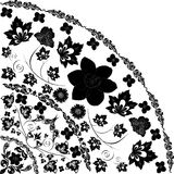 Black quadrant with narcissus silhouette. Illustration with black curled quadrant ornament Royalty Free Stock Photo
