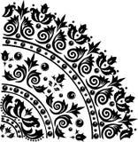 Black quadrant ornament. Illustration with black decoration on white background Stock Images