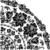 Black quadrant with two flowers. Illustration with black decoration on white background Stock Photo