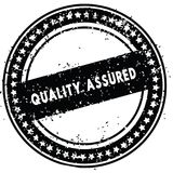Black QUALITY ASSURED distressed rubber stamp with grunge texture. Illustration Stock Image
