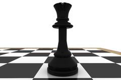 Black queen on chess board Royalty Free Stock Photo