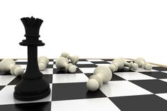 Black queen standing with fallen white pawns Stock Image