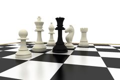 Black queen standing with white chess pieces Stock Image