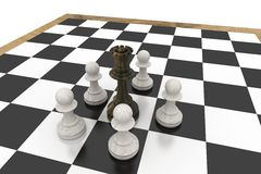 Black queen surrounded by white pawns Royalty Free Stock Image