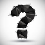 Black question mark geometric icon made in 3d modern style, best Stock Images