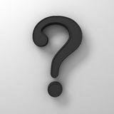 Black question mark on white background abstract with shadow. 3D rendering Royalty Free Stock Photography