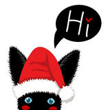 Black Rabbit with Santa Hat Sneaking. Greeting Card Christmas Day. Vector Illustration. Royalty Free Stock Image