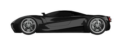 Black racing concept car. Image of a car on a white isolated background. 3d rendering. Black racing concept car. Image of a car on a white isolated background Stock Photo
