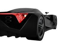 Black racing concept car. Image of a car on a white isolated background. 3d rendering. Black racing concept car. Image of a car on a white isolated background Royalty Free Stock Photos