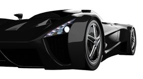 Black racing concept car. Image of a car on a white isolated background. 3d rendering. Black racing concept car. Image of a car on a white isolated background Royalty Free Stock Images