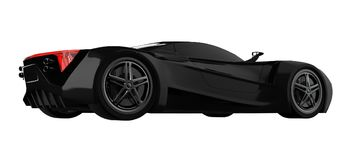 Black racing concept car. Image of a car on a white isolated background. 3d rendering. Black racing concept car. Image of a car on a white isolated background Royalty Free Stock Image
