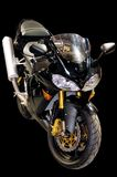 Black racing motorcycle isolated Stock Image