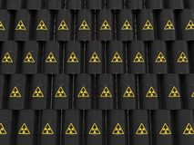 Black radiation barrels. On white Stock Photo