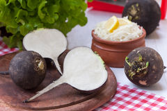 Black radish root vegetables Royalty Free Stock Photography