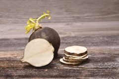 Black radish. On wooden background Stock Image