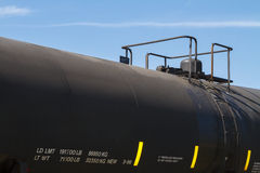 Black Railroad Tanker Car Close Up. A close up shot of a general purpose insulated black tanker rail car (DOT 111A100W1 type) on a clear Autumn day Royalty Free Stock Image