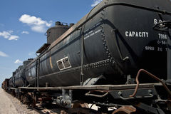 Black railroad tanker cars stock images