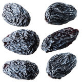 Black raisins. Collection isolated on white Stock Image