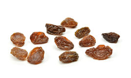 Black raisins on a white background Stock Photo