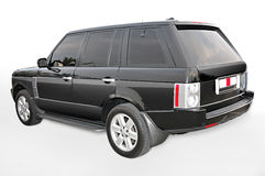 Black Range Rover corner view Royalty Free Stock Images