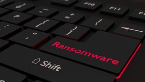 Black ransomware keyboard cybersecurity concept Royalty Free Stock Photos