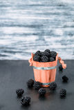 Black raspberries in a wooden basket and on   table. Copy space. Royalty Free Stock Photography