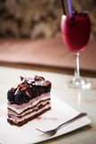 Dessert Black Raspberry cake served with Black ber Royalty Free Stock Photos