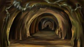 Black rat runs in a deep hole animation