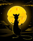 Black rat and yellow cheese moon  Royalty Free Stock Image