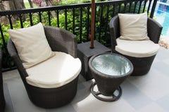 Black Rattan armchair Royalty Free Stock Photo