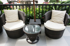 Black Rattan armchair Royalty Free Stock Images