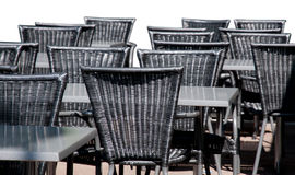 Black rattan chairs Stock Photography
