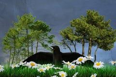 Black raven. 3d illustration of a black raven on green grass Stock Image