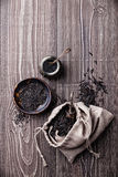 Black raw food ingredients - wild rice, sesame seeds, salt Royalty Free Stock Images
