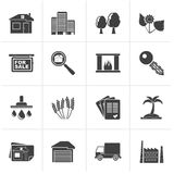 Black Real Estate and building icons. Vector Icon Set Royalty Free Stock Photo