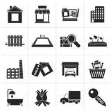Black Real Estate and building icons. Vector Icon Set Royalty Free Stock Photos