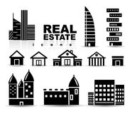 Black real estate | houses | buildings icon set Stock Image