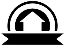 Black real estate icon with cottage Stock Photography