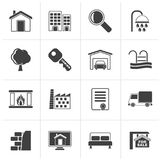 Black Real Estate Icons. Vector Icon Set Stock Images