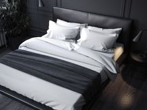 Black realistic bed with white linens ,3d rendering. Black realistic bed with white linens in dark room, 3d rendering Royalty Free Stock Image