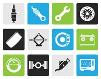 Black Realistic Car Parts and Services icons. Vector Icon Set 1 Royalty Free Stock Photos