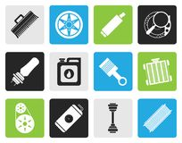 Black Realistic Car Parts and Services icons. Vector Icon Set 2 Royalty Free Stock Photography