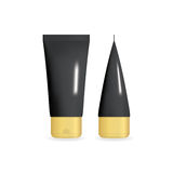 Black Realistic Cream Tube with golden cap. Cosmetic Template Set in Different Projections. Isolated Vector illustration. Black Realistic Cream Tube with golden Stock Photography